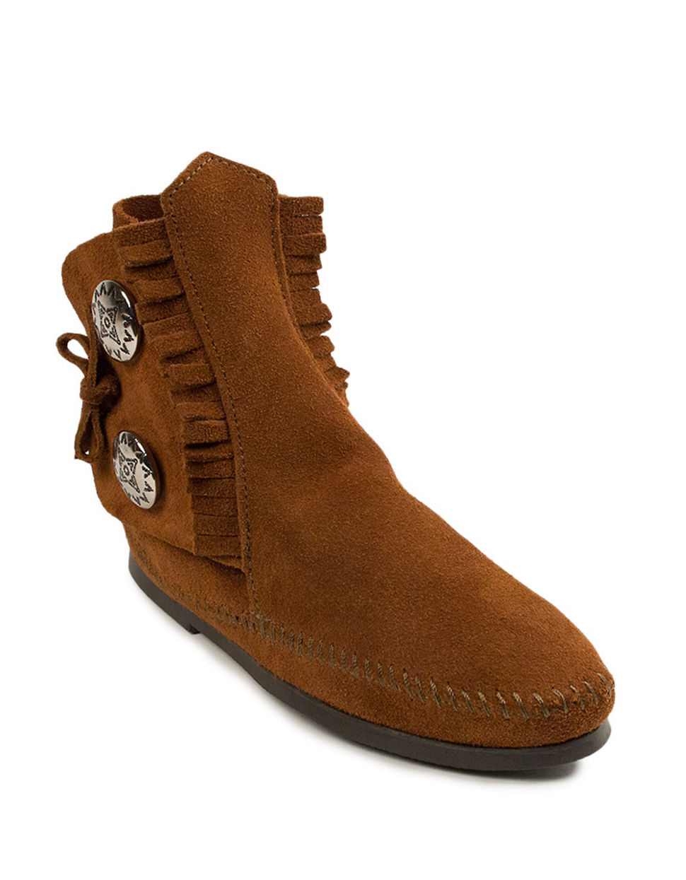 minnetonka two button suede boots in brown lyst