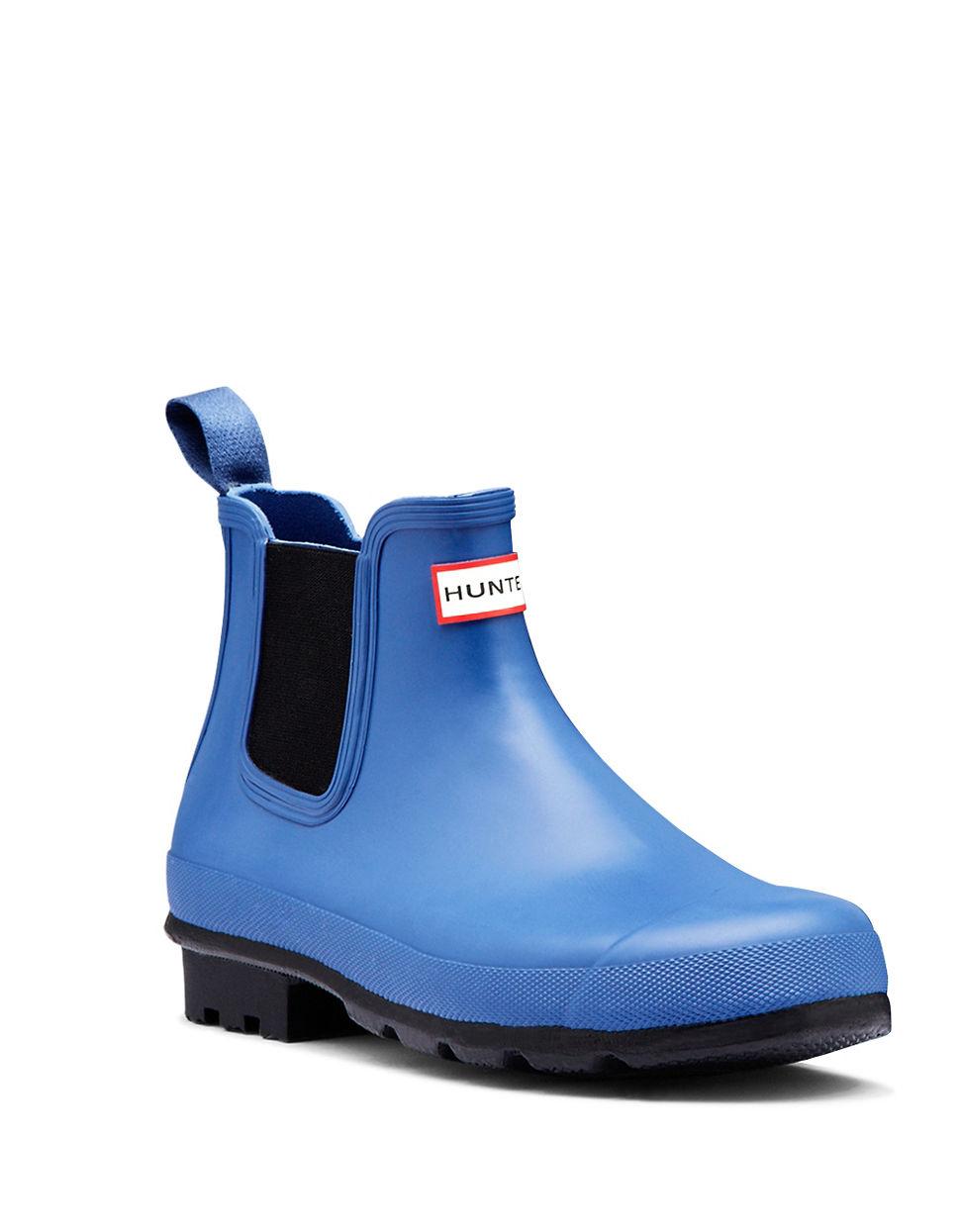 hunter chelsea rain ankle boots in blue lyst. Black Bedroom Furniture Sets. Home Design Ideas
