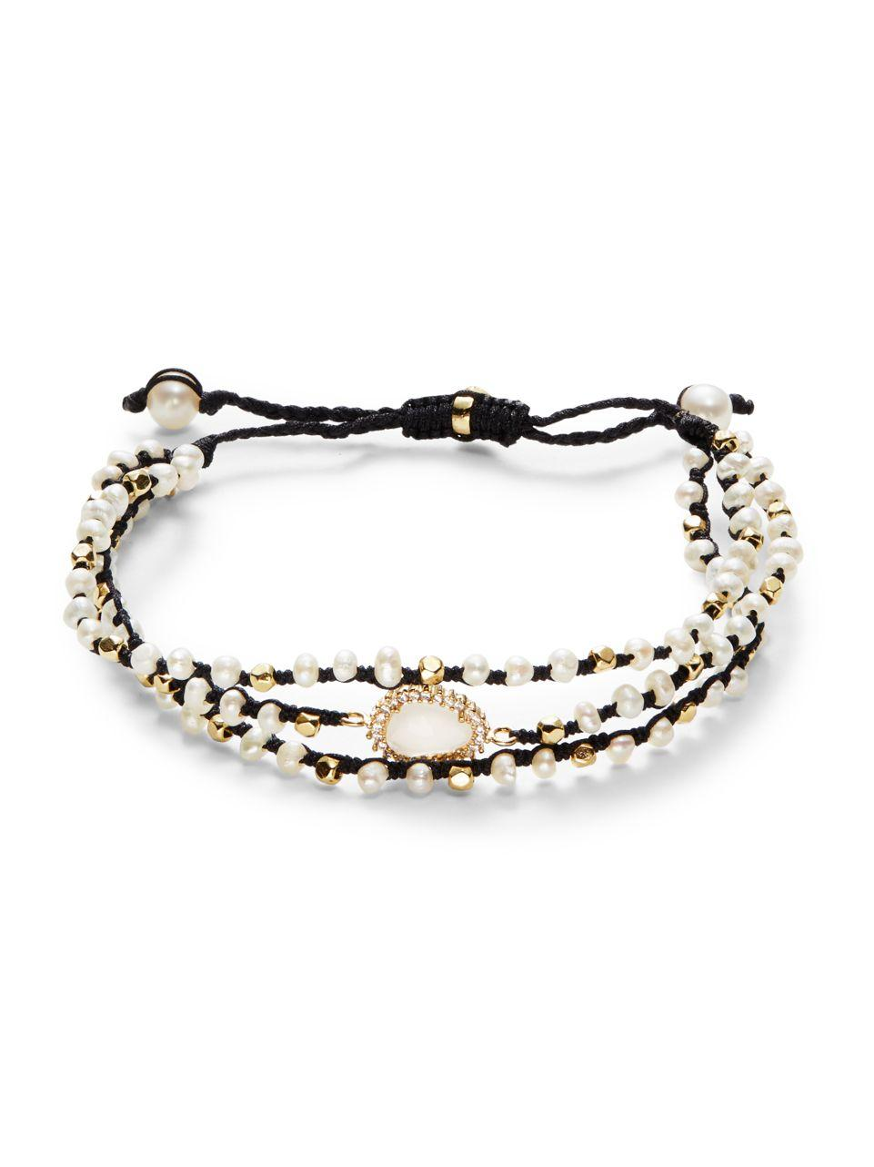 Lyst Tai Three Strand Mother Of Pearl Bracelet In Black