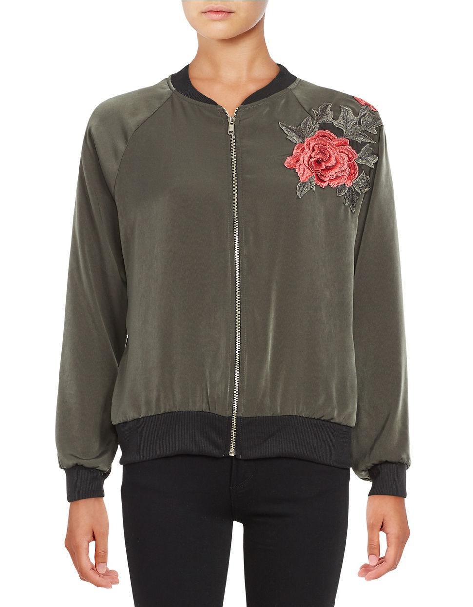 Lord taylor floral embroidered bomber jacket in green lyst