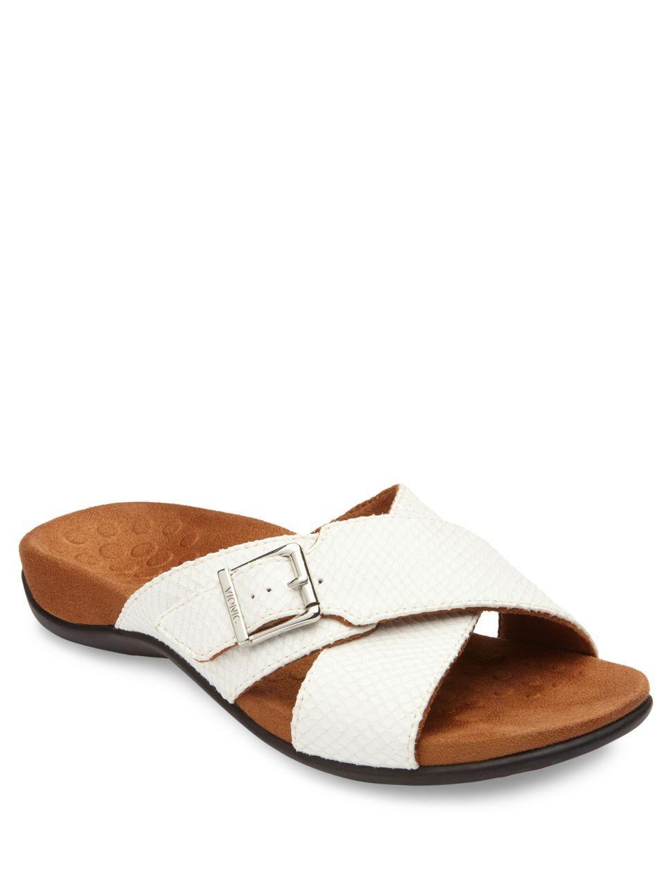 Lyst - Vionic Dorie Crisscross Slide Sandals in White