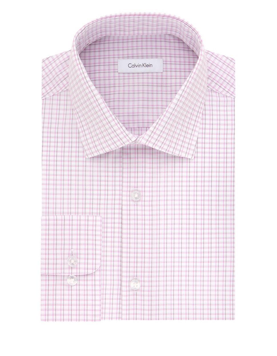 Calvin klein regular fit check dress shirt in pink for men for Pink checkered dress shirt