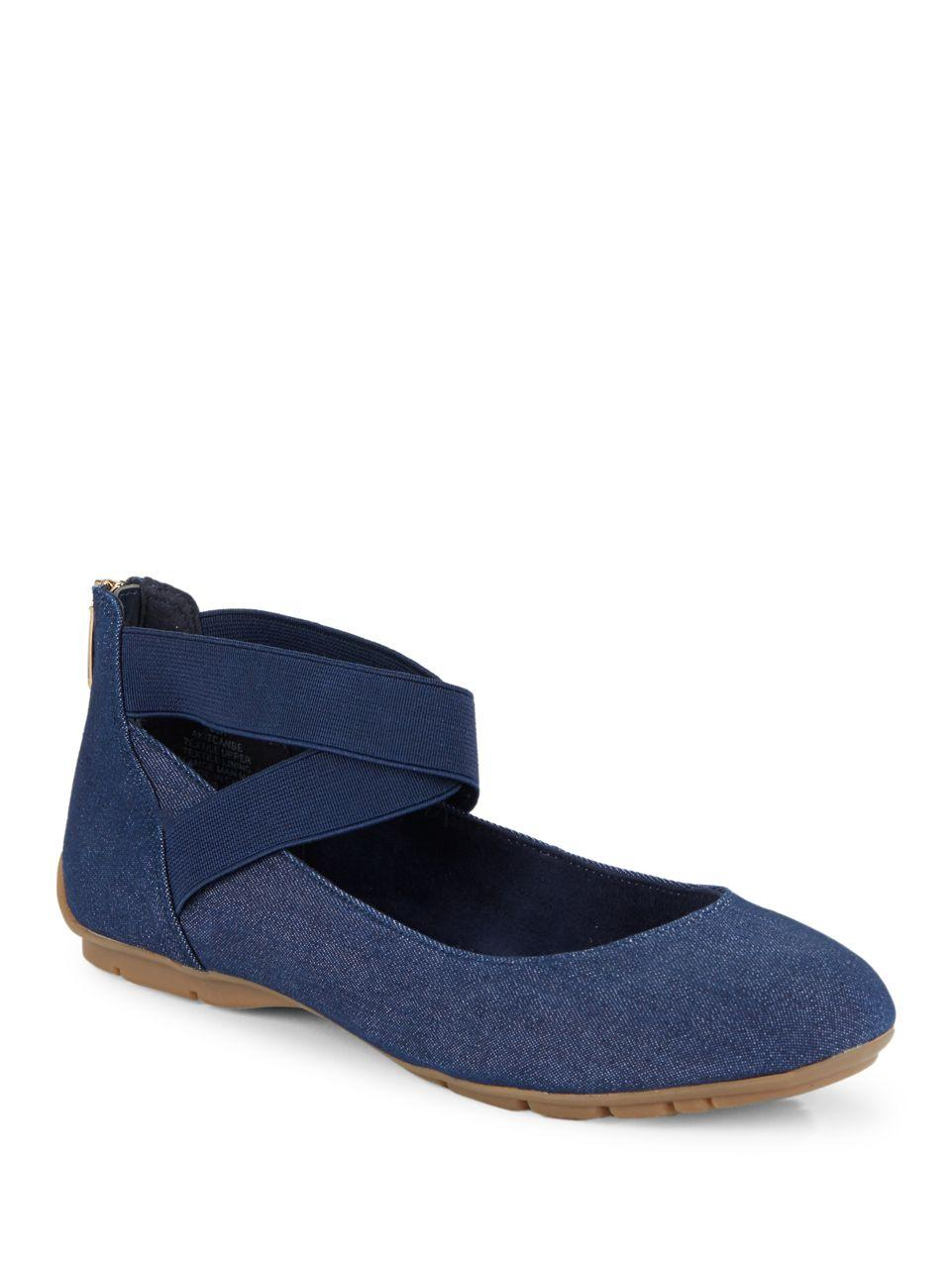 Anne Klein Itcanbe Ankle Strap Flats In Blue Lyst