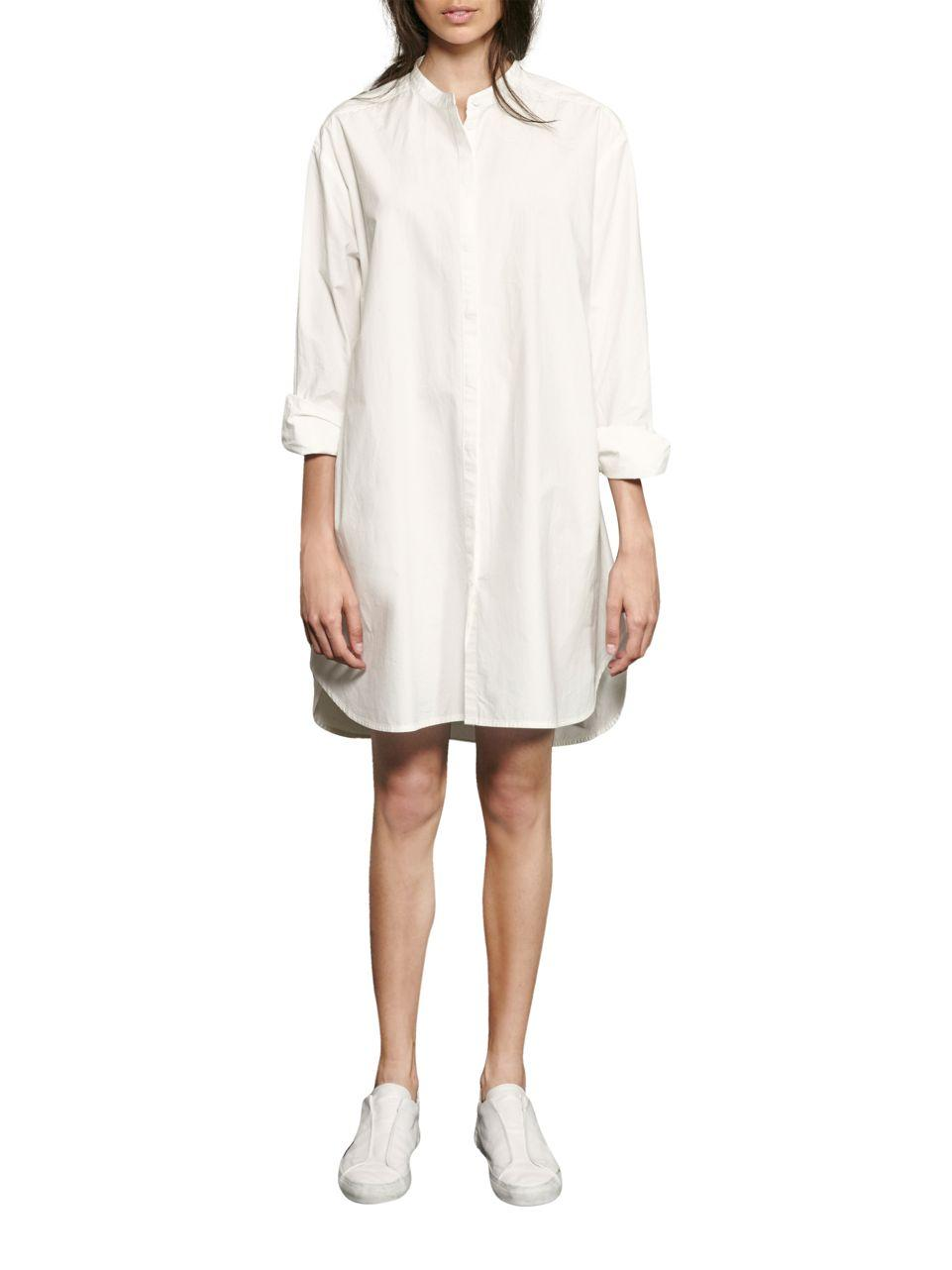 French connection willis button front shirt dress in white for French connection shirt dress