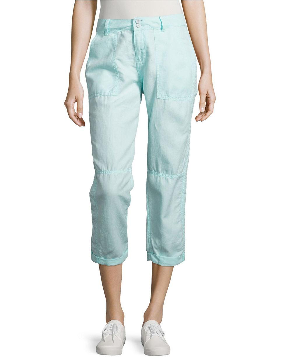 Luxury Joie Linen Cropped Cargo Pants In White Porcelain  Lyst