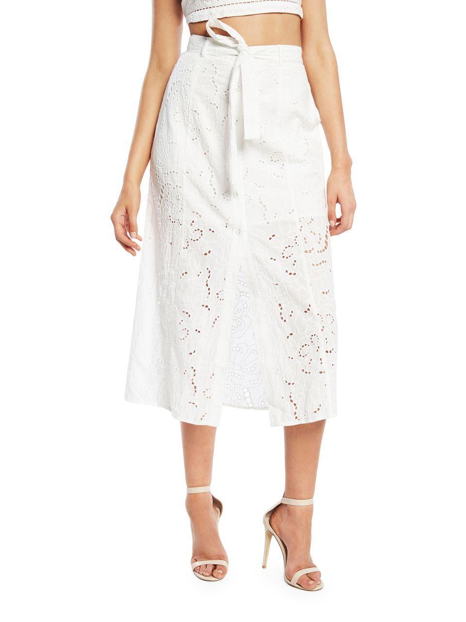 b8299d5bdb33 Bardot Meadow Cutout Cotton Skirt in White - Lyst