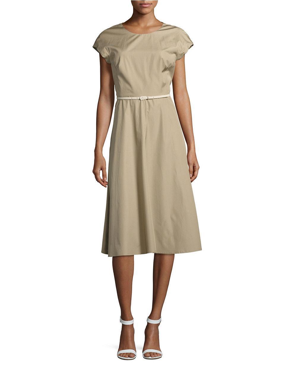 max mara studio calate solid roundneck dress in brown lyst. Black Bedroom Furniture Sets. Home Design Ideas