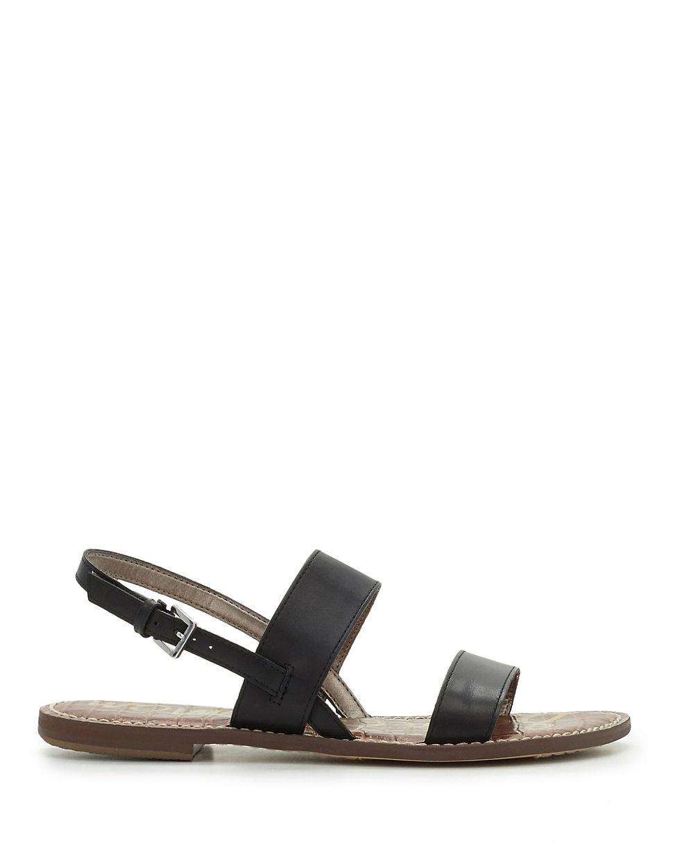 c52a301ea3dd Lyst - Sam Edelman Georgiana Flat Leather Sandals in Black