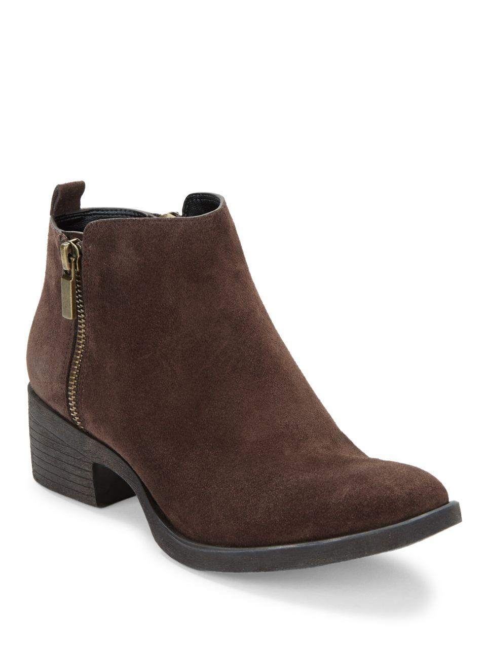 Kenneth Cole Levon Suede Ankle Boots In Brown Lyst