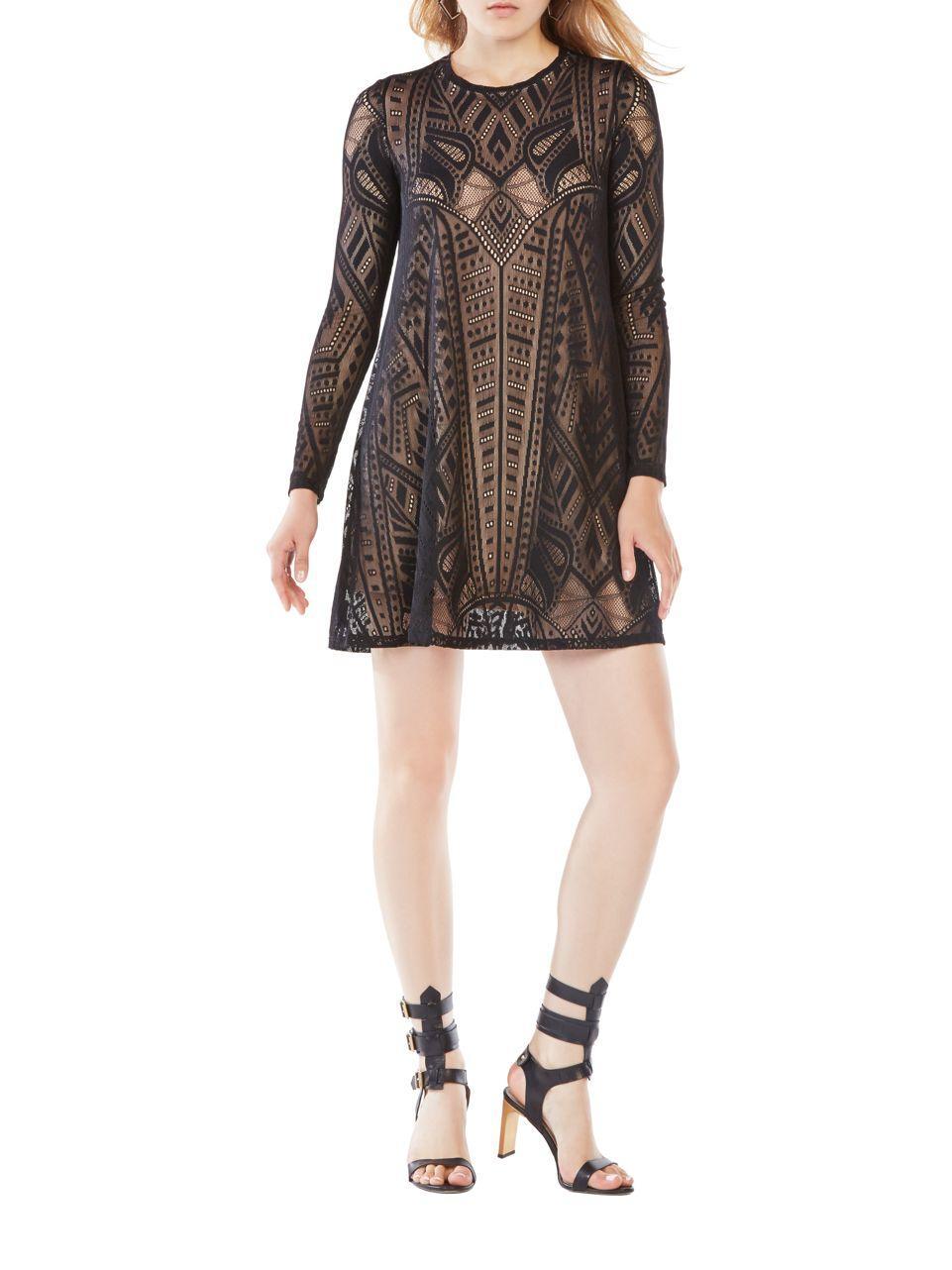 551ca6ab21 Bcbgmaxazria Long Sleeve Burnout Dress in Black - Lyst