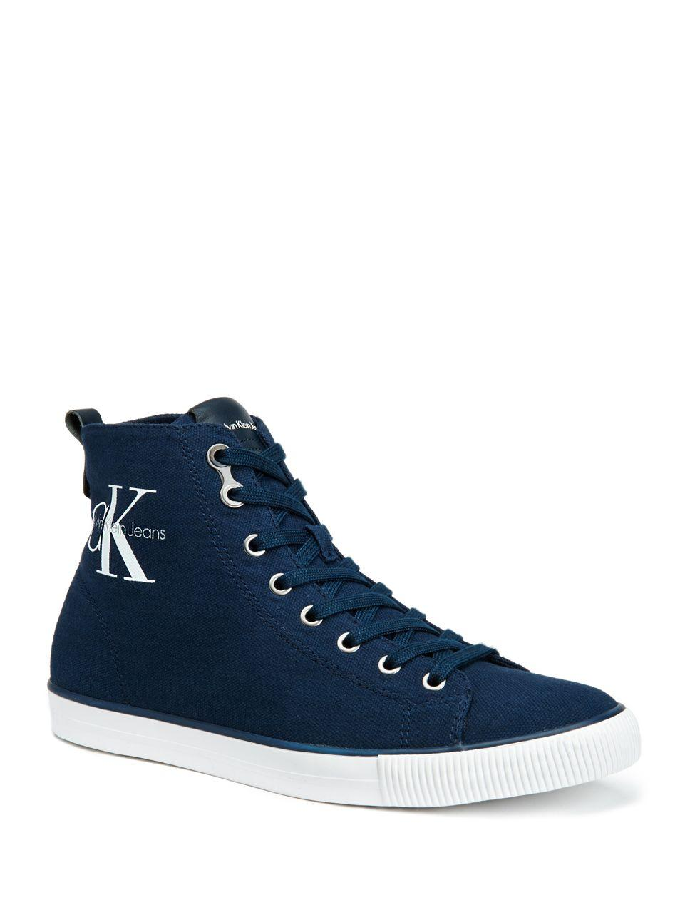 calvin klein arthur canvas high top sneakers in blue lyst. Black Bedroom Furniture Sets. Home Design Ideas