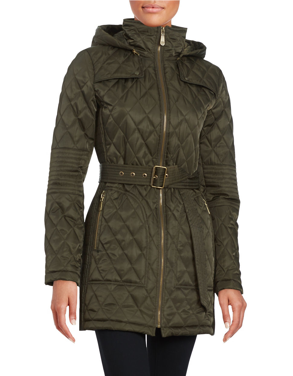Vince Camuto Quilted Jacket In Green Lyst