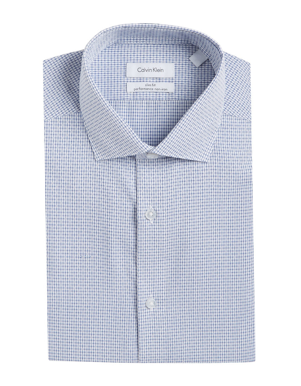 Calvin klein slim fit dress shirt in blue for men lyst for Calvin klein athletic fit dress shirt