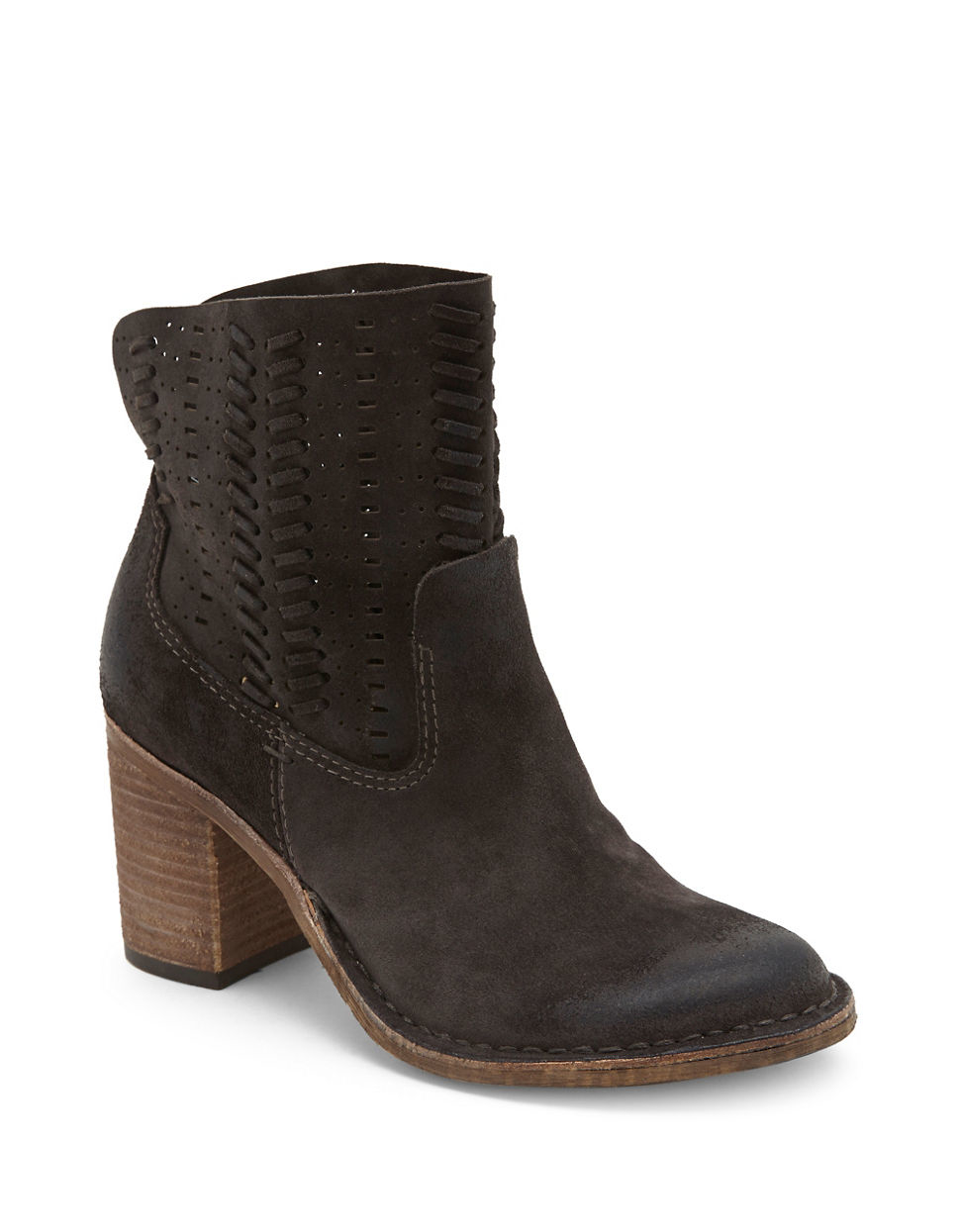 dolce vita landon perforated suede ankle boots in black lyst