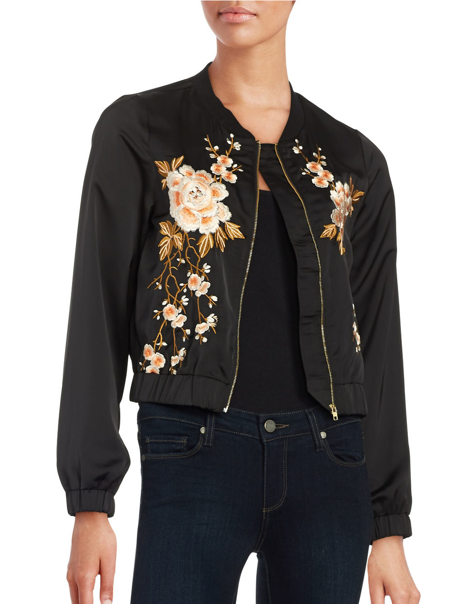 Lord taylor floral embroidered bomber jacket in black lyst