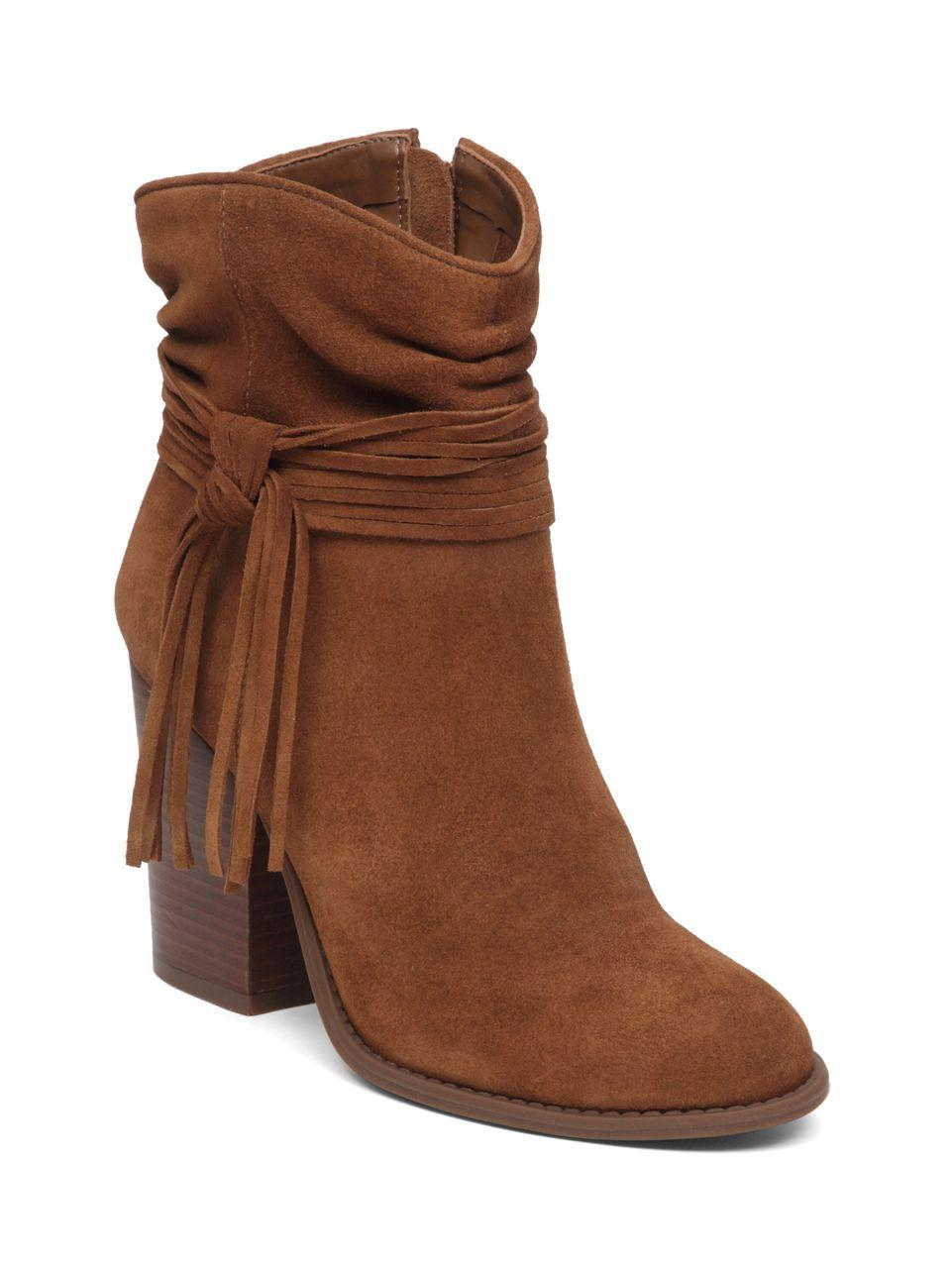 sesley suede tassel accent boots in brown
