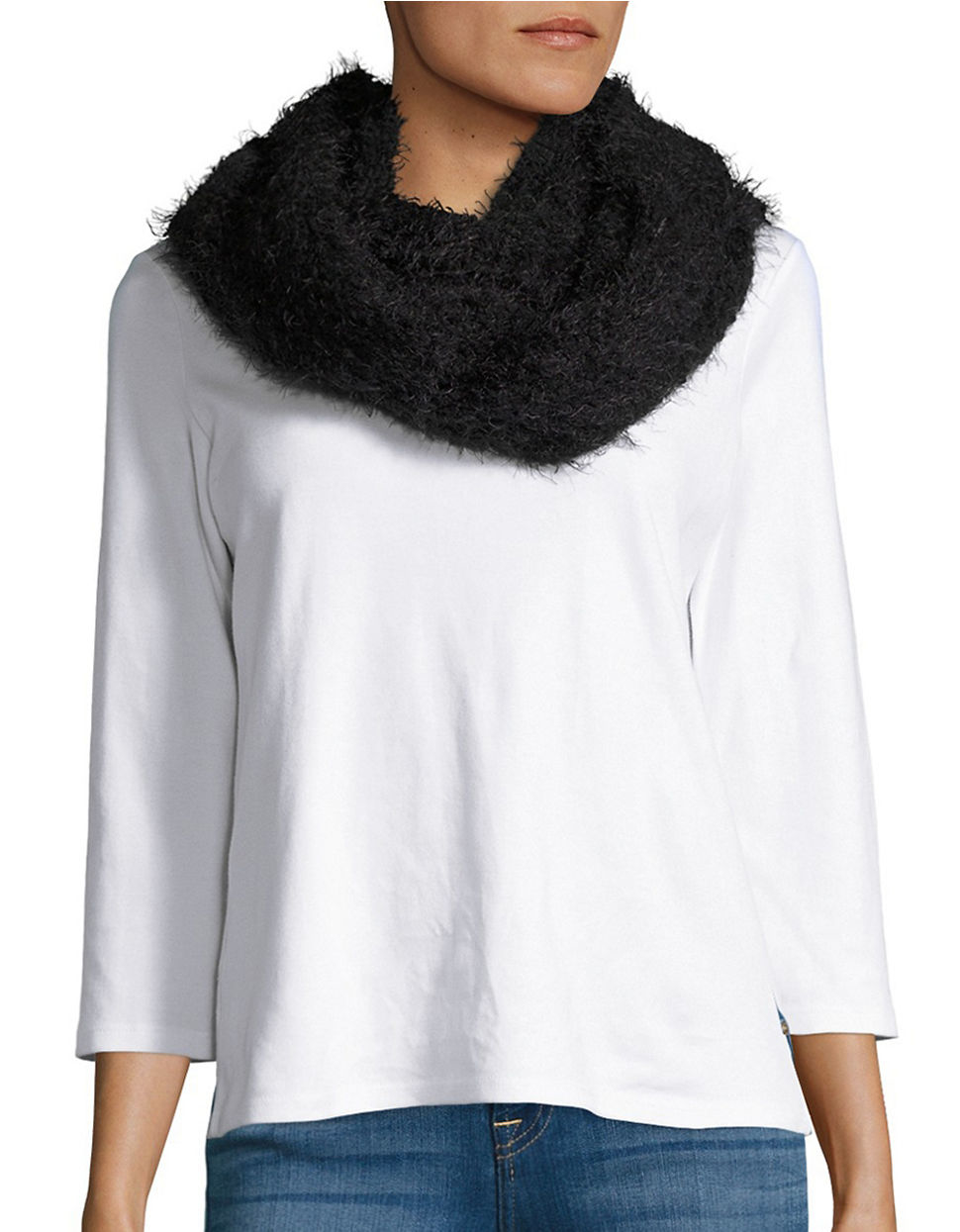 calvin klein fringed boucle infinity scarf in black lyst
