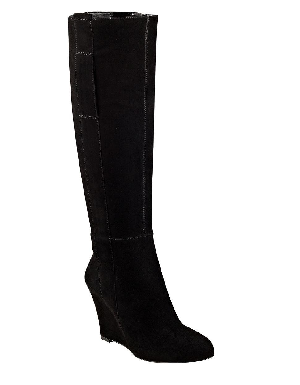 nine west orsella suede wedge boots in black lyst