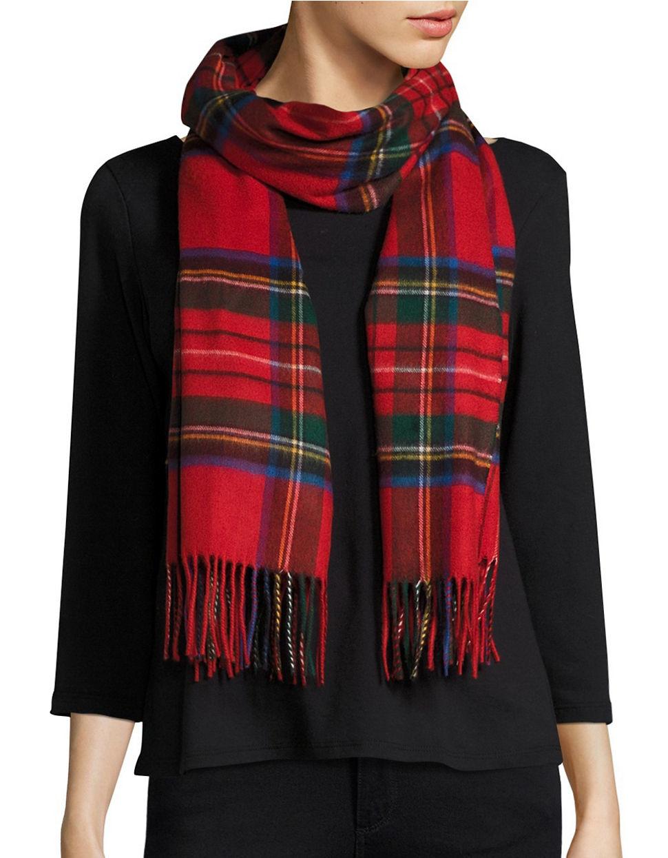 lord fringed tartan plaid scarf or wrap in lyst