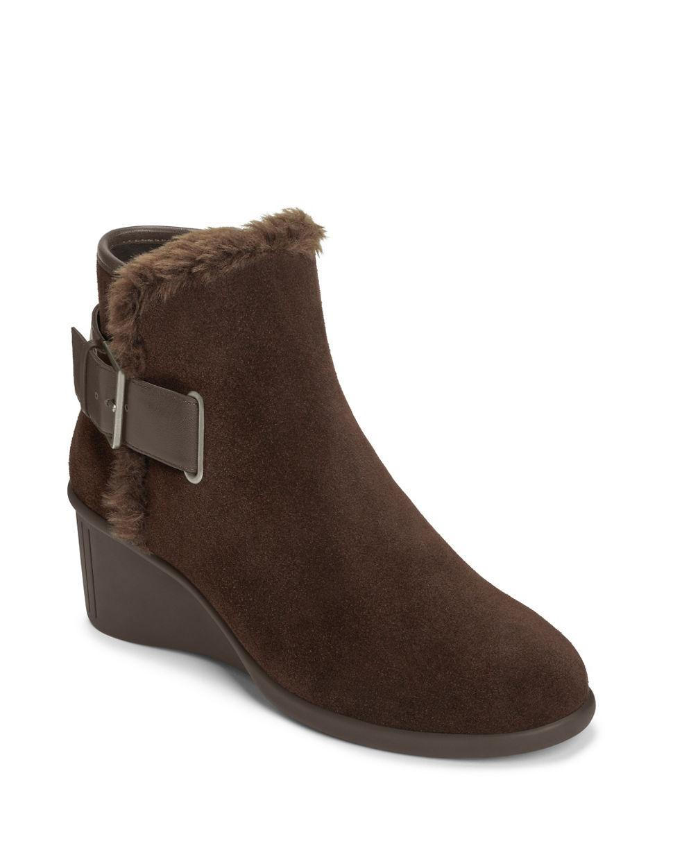 aerosoles gravel suede ankle boots in brown lyst