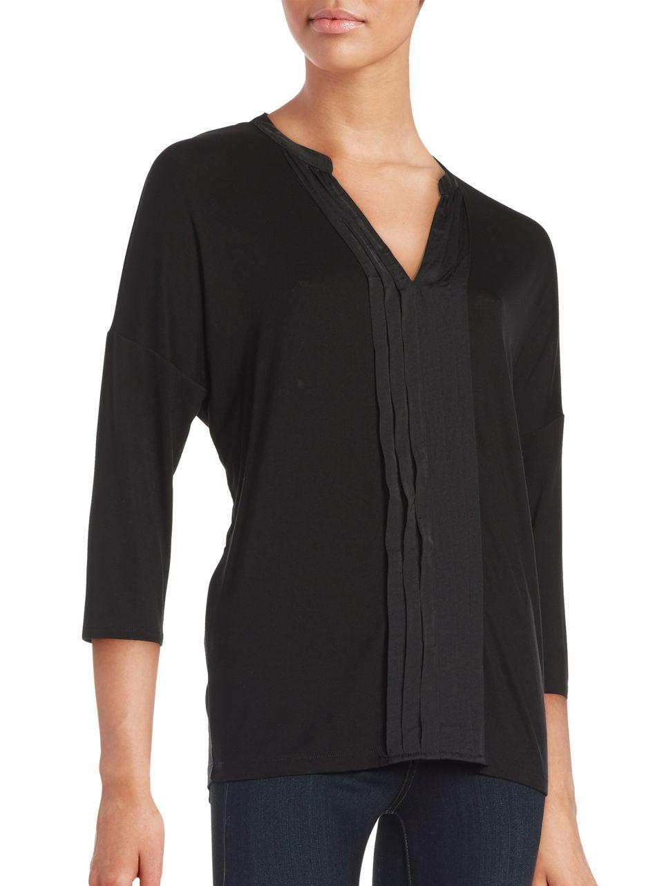 Lord Taylor Pleated Split V Neck Tee In Black Lyst