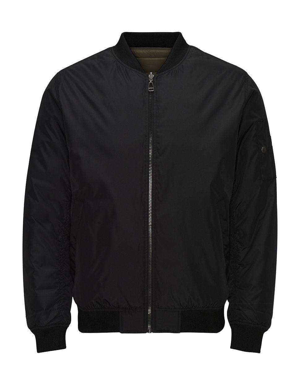 jack jones jortide bomber jacket in black for men lyst. Black Bedroom Furniture Sets. Home Design Ideas