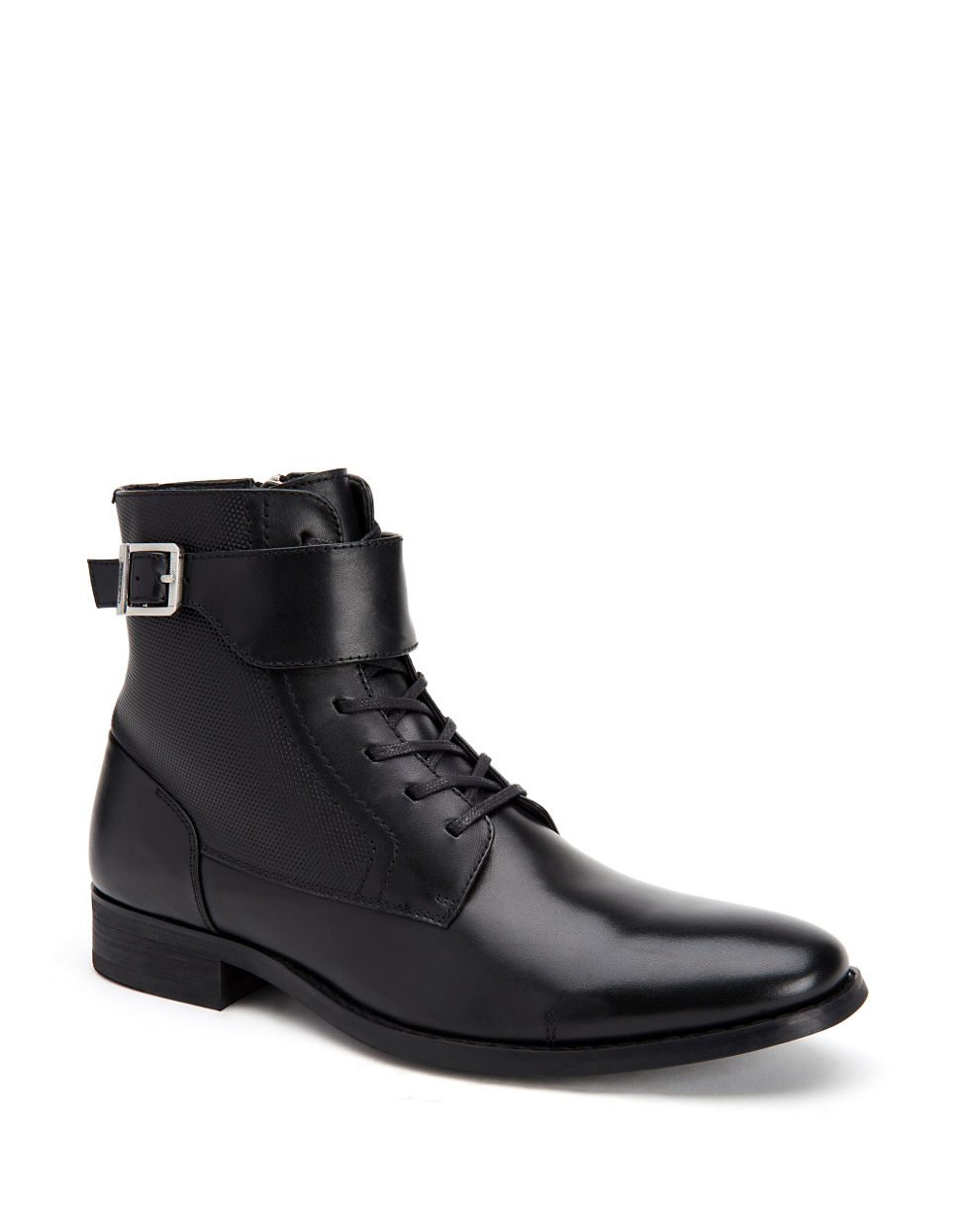 calvin klein calf leather boots in black lyst
