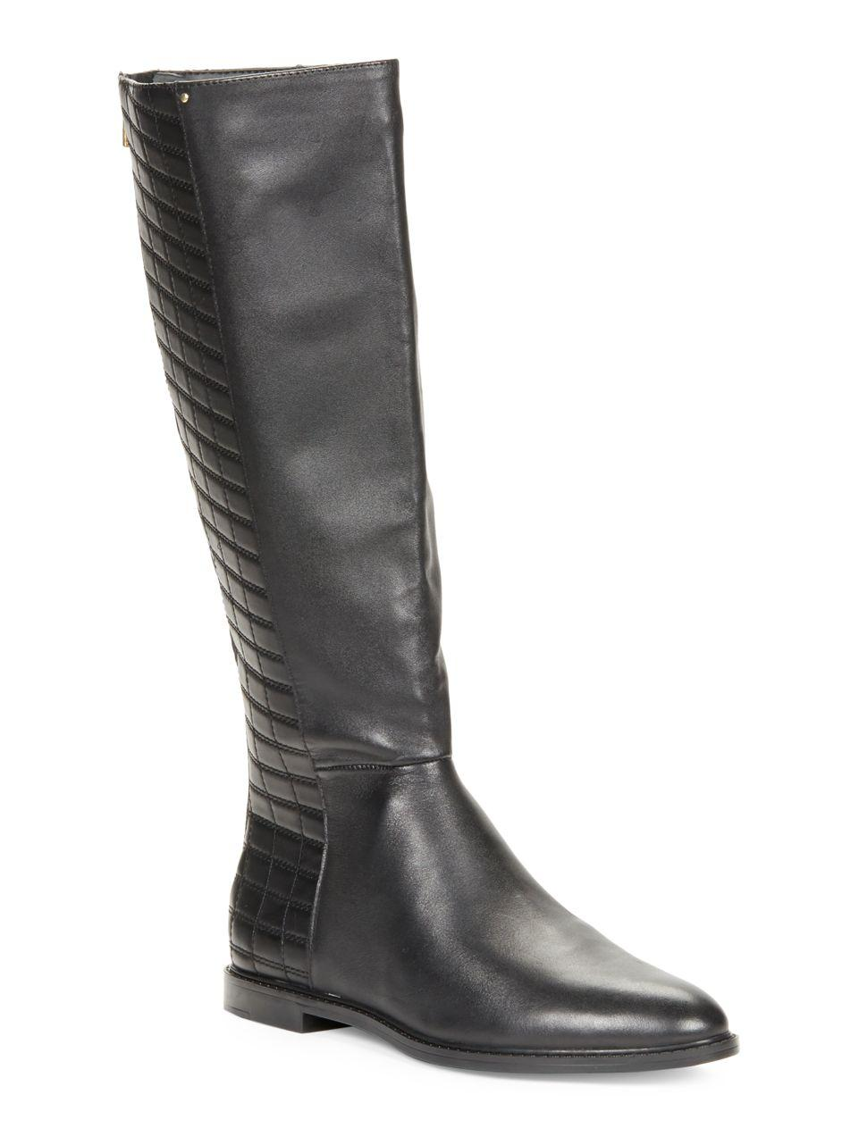 calvin klein donnily leather knee high boots in black lyst