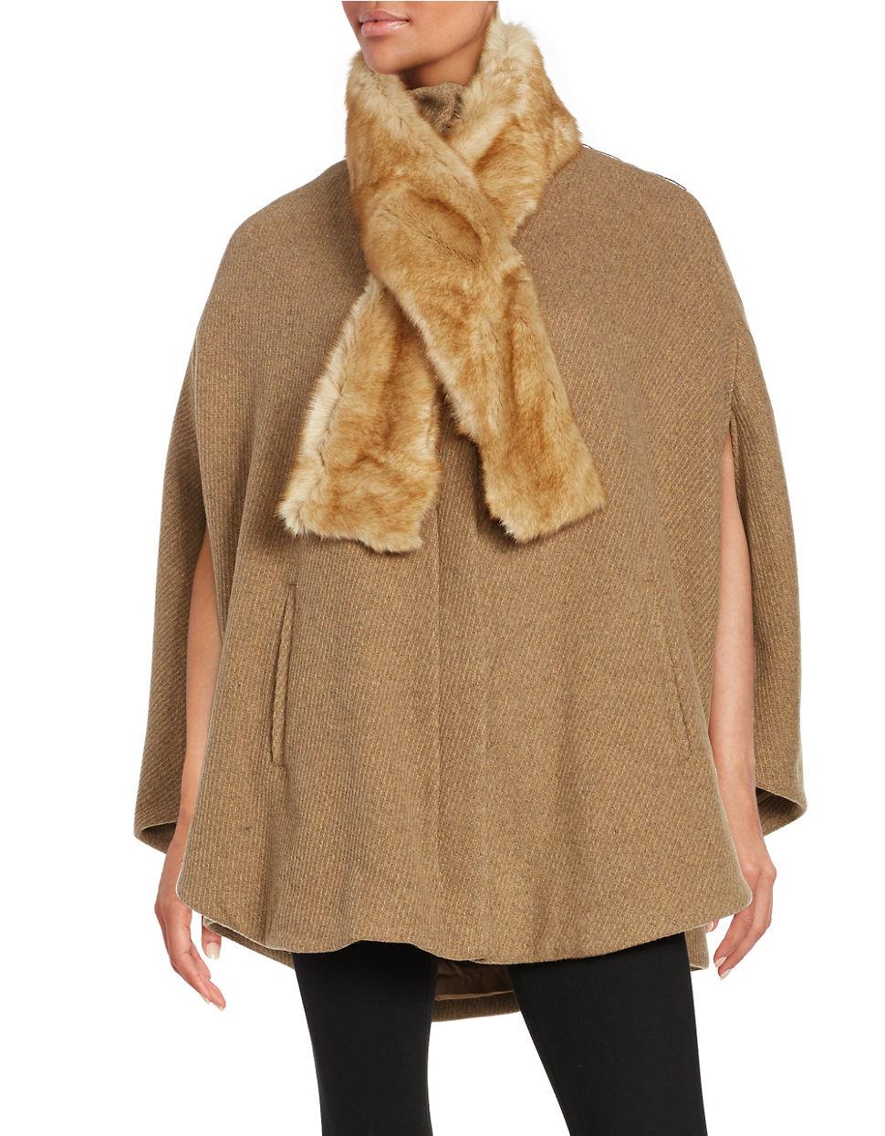 Ivanka trump Faux Fur-trimmed Wool-blend Cape in Natural | Lyst