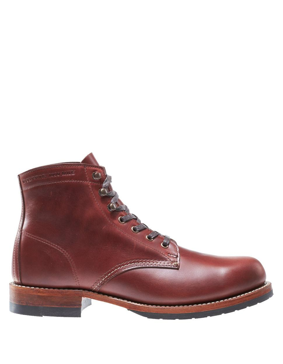 wolverine leather ankle boots in brown for lyst