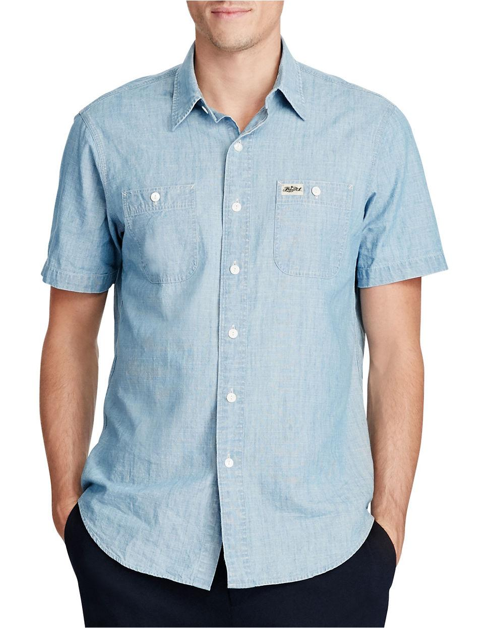 Polo Ralph Lauren Cotton Chambray Work Shirt In Blue For