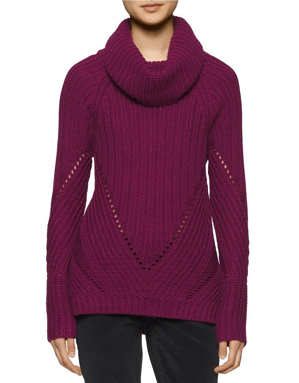 calvin klein long sleeve turtleneck pullover in purple lyst. Black Bedroom Furniture Sets. Home Design Ideas