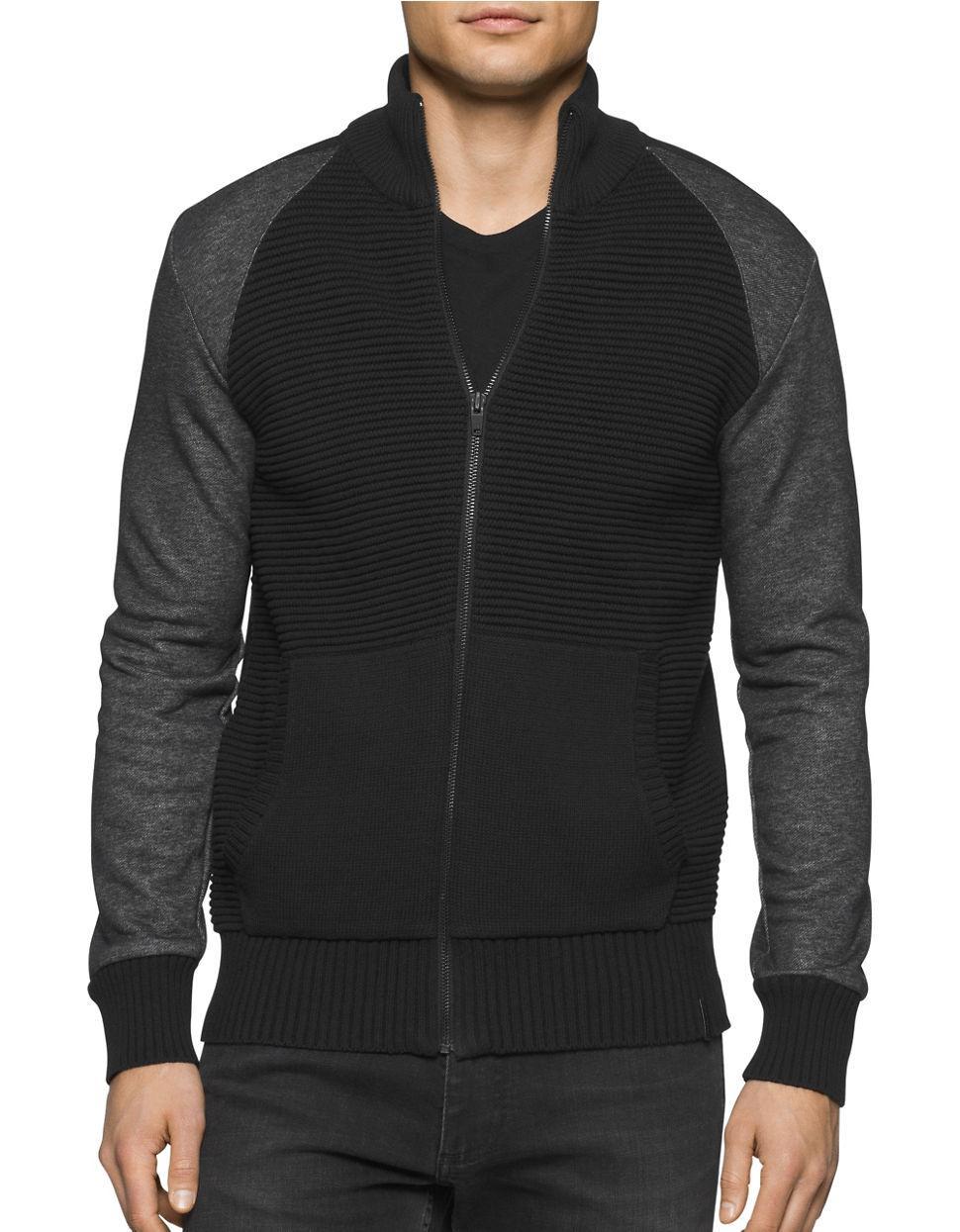 calvin klein jeans zip front ribbed sweatshirt in black. Black Bedroom Furniture Sets. Home Design Ideas
