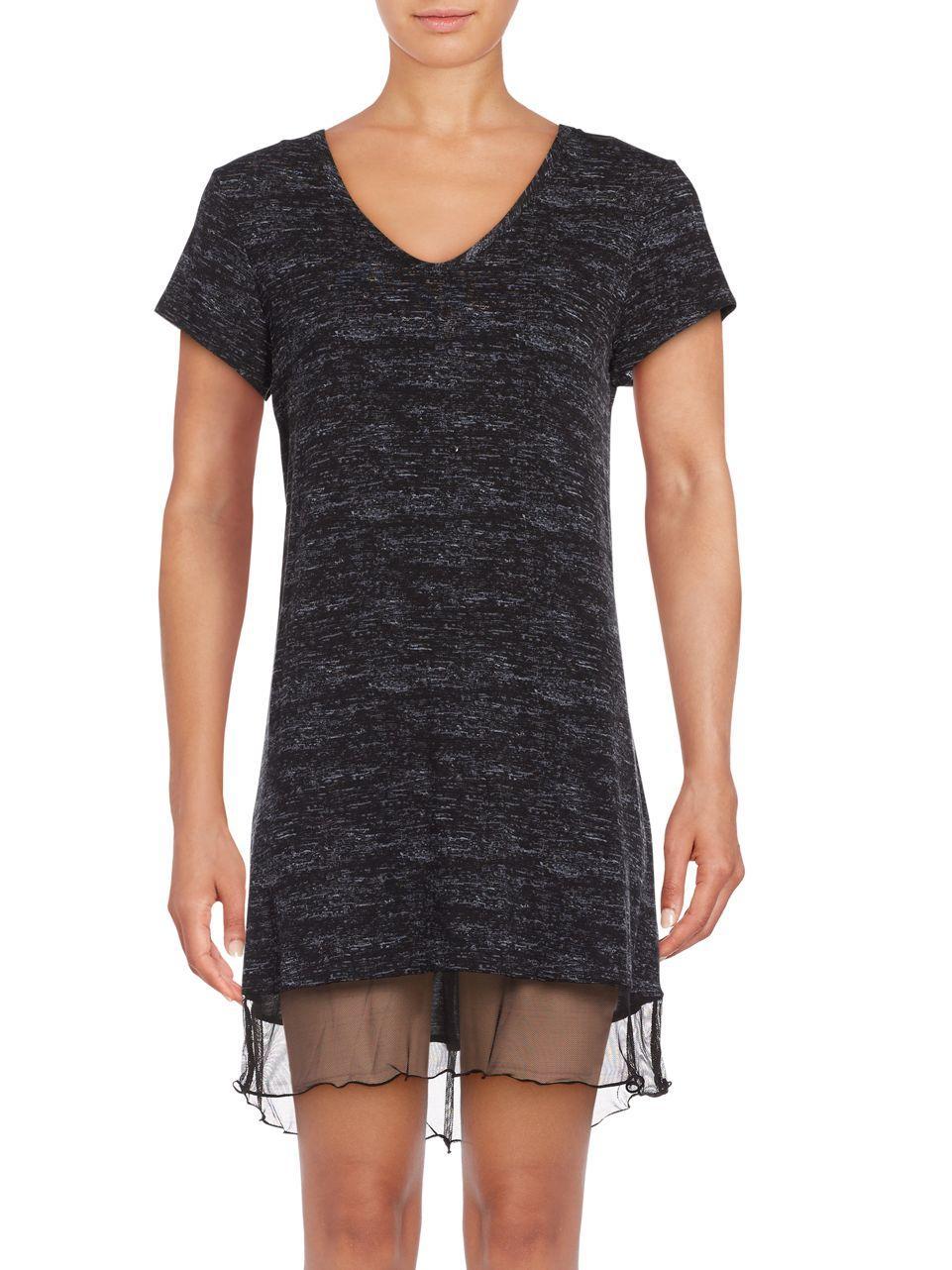 Lyst roudelain cap sleeve jersey knit sleep dress in black for Jersey knit wedding dress