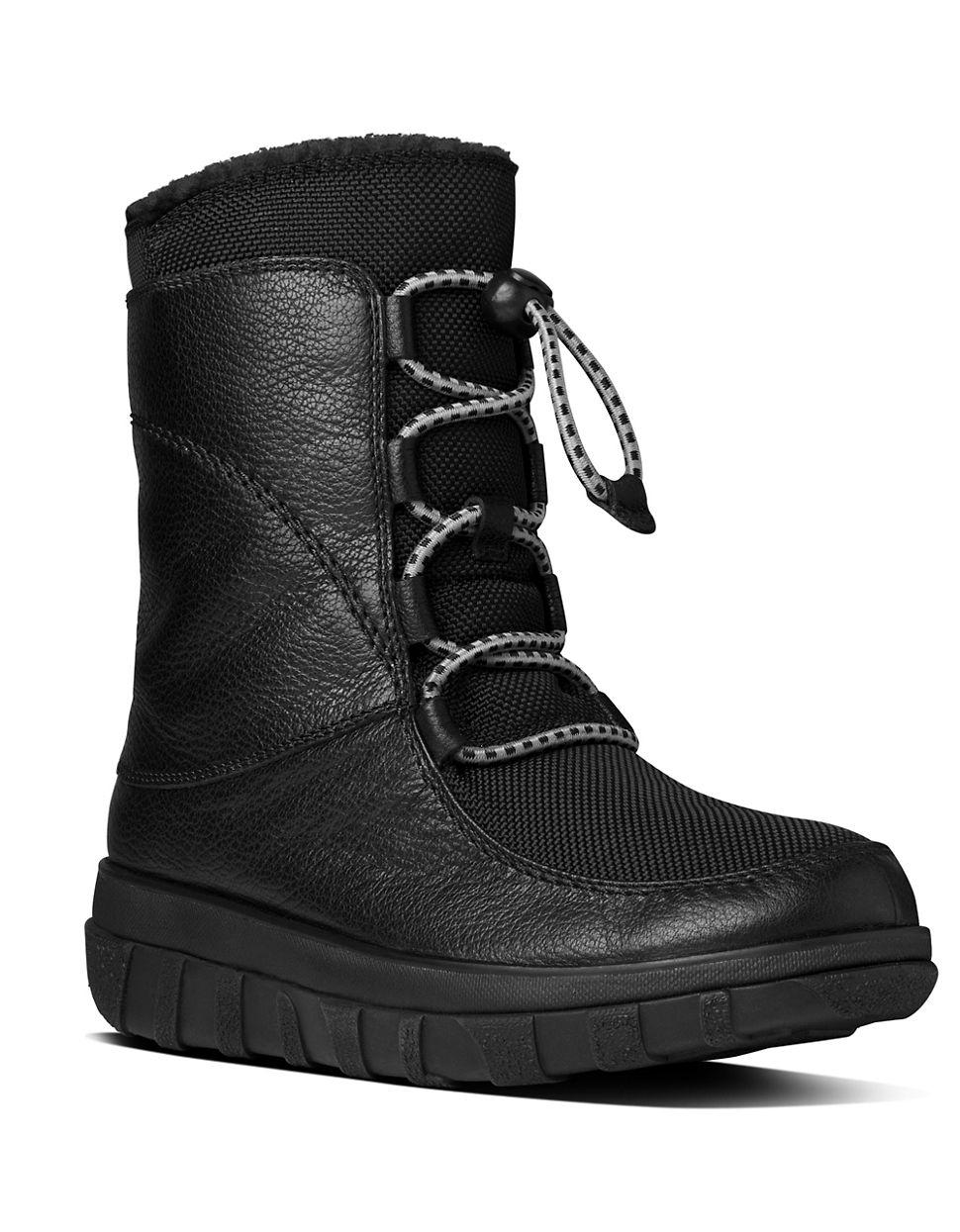 fitflop sportylace tm lace up leather boots in black lyst