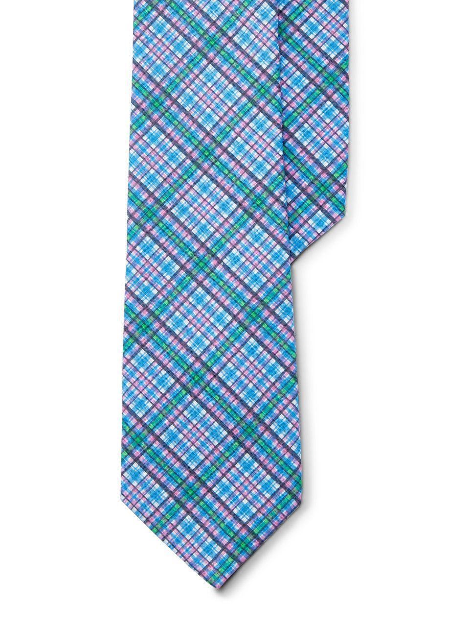 lyst lauren by ralph lauren plaid cotton tie in blue for men. Black Bedroom Furniture Sets. Home Design Ideas