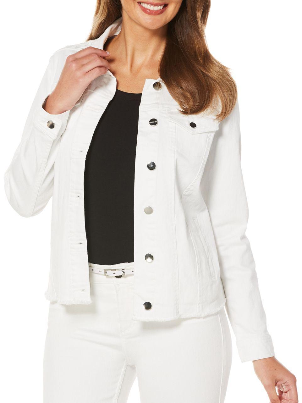 Lyst Rafaella Solid Denim Jacket In White