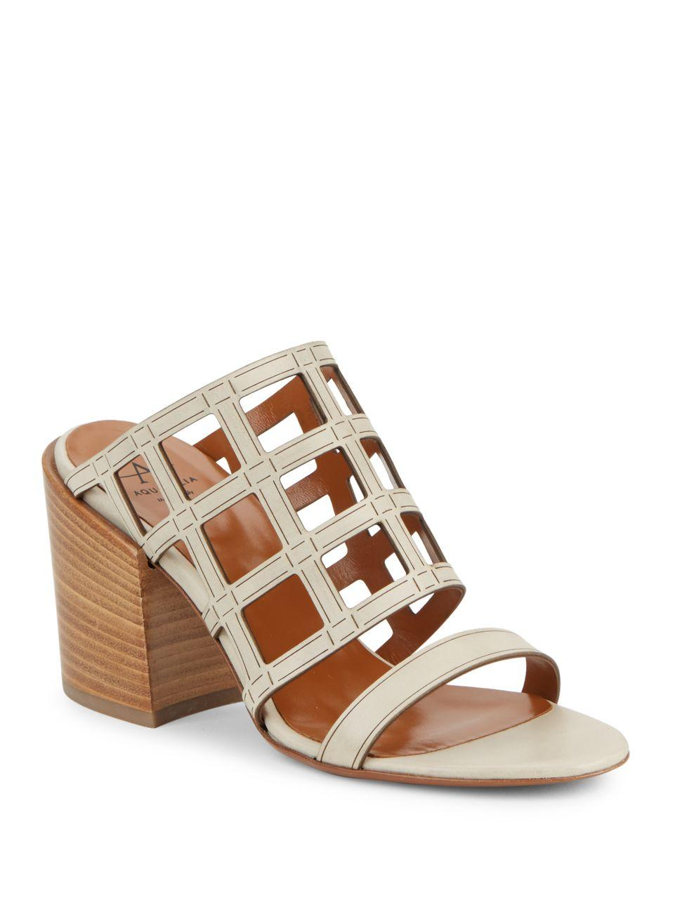 2b8f5aaa3169a Lyst - Aquatalia Frederica Leather Cutout Sandals in Brown