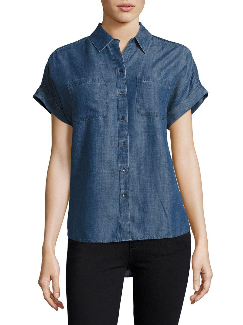 Lyst Lord Taylor Addy Short Sleeve Shirt In Blue