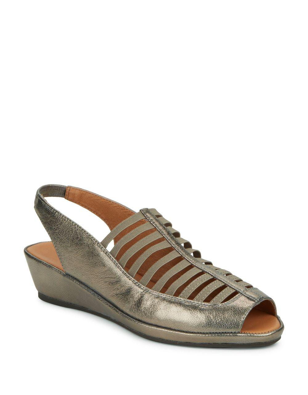gentle souls leather slingback wedge shoes lyst
