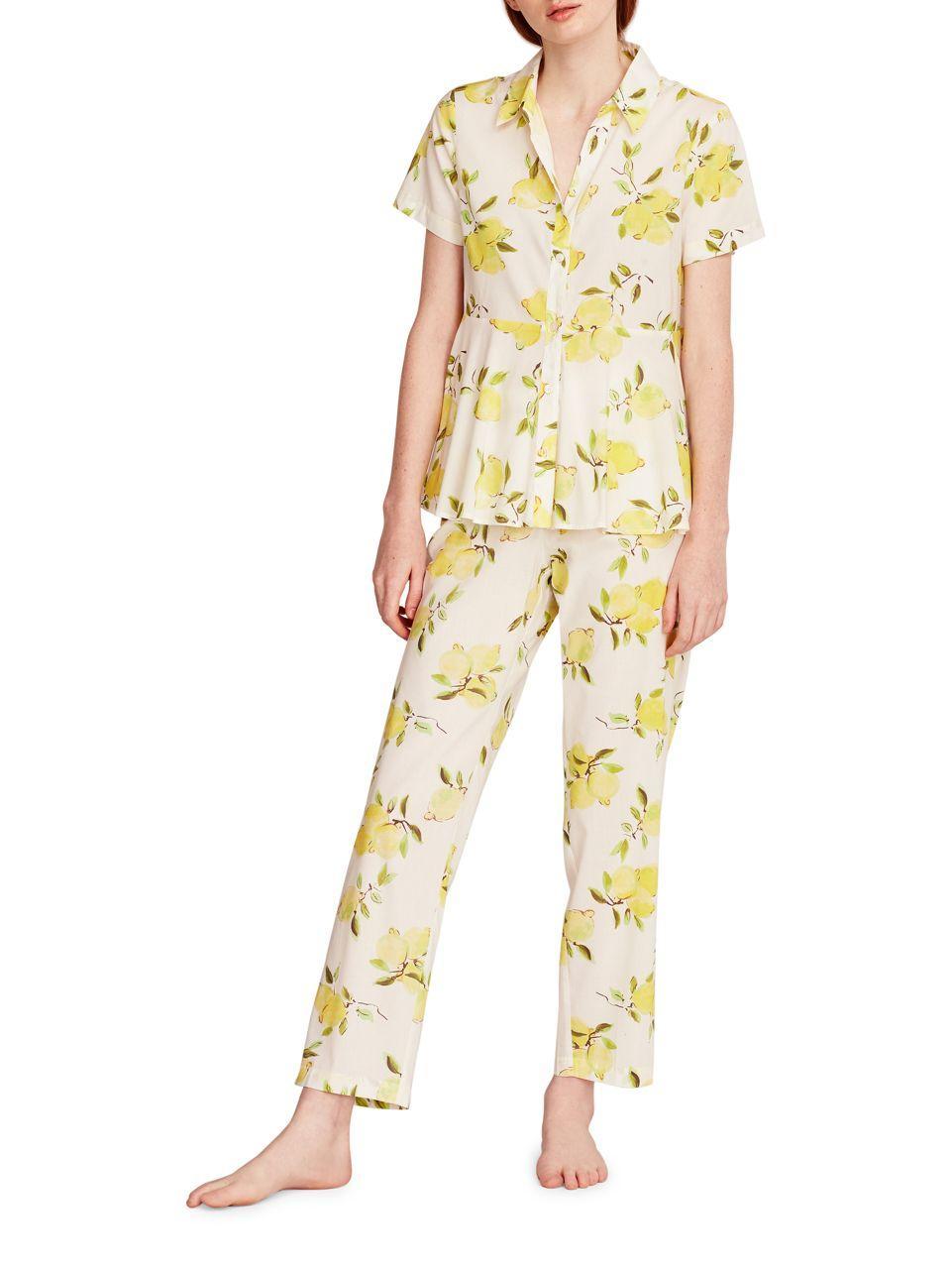 Kate Spade Cotton Lemon Printed Capri Pajama In Yellow Lyst