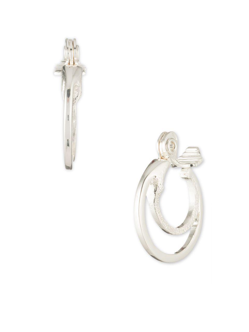 lyst anne klein textured double hoop earrings in metallic. Black Bedroom Furniture Sets. Home Design Ideas