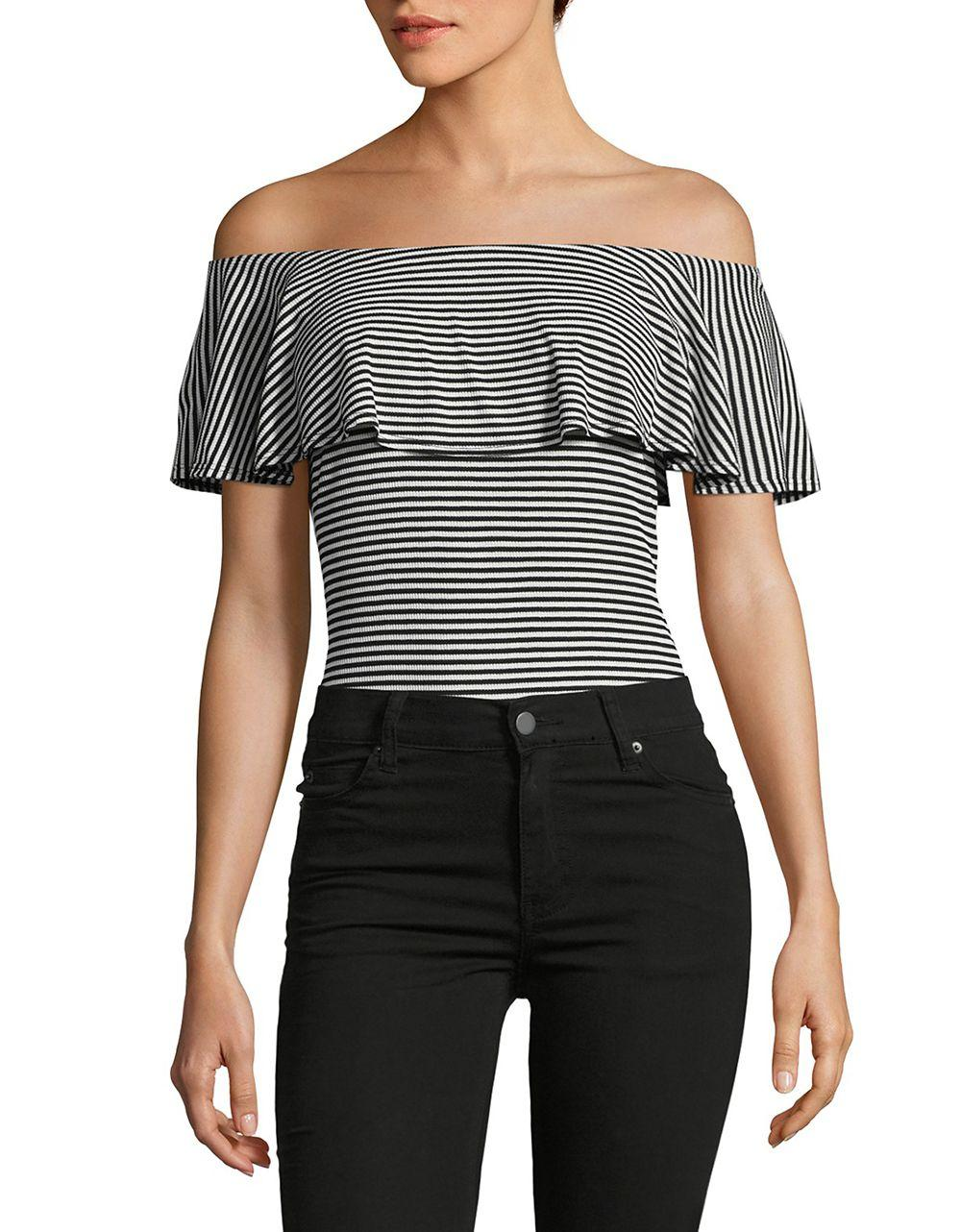 Lyst Lord Taylor Striped Off The Shoulder Bodysuit In