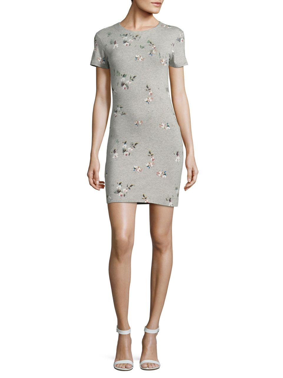 Lyst french connection floral t shirt dress in gray for French connection shirt dress