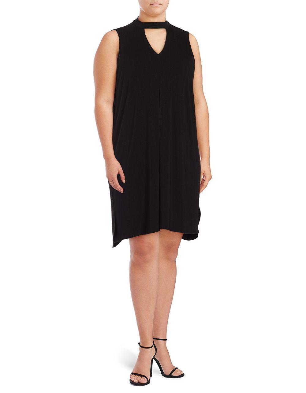 Lyst Lord Taylor Plus Knit Choker Dress In Black