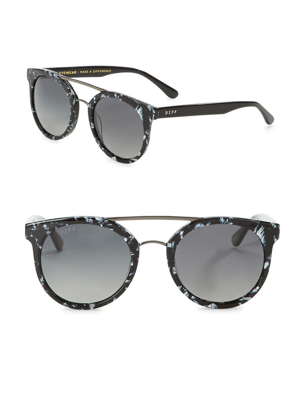 c6b95d3412 Lyst - Diff Eyewear Astro 51mm Polarized Round Sunglasses in Gray