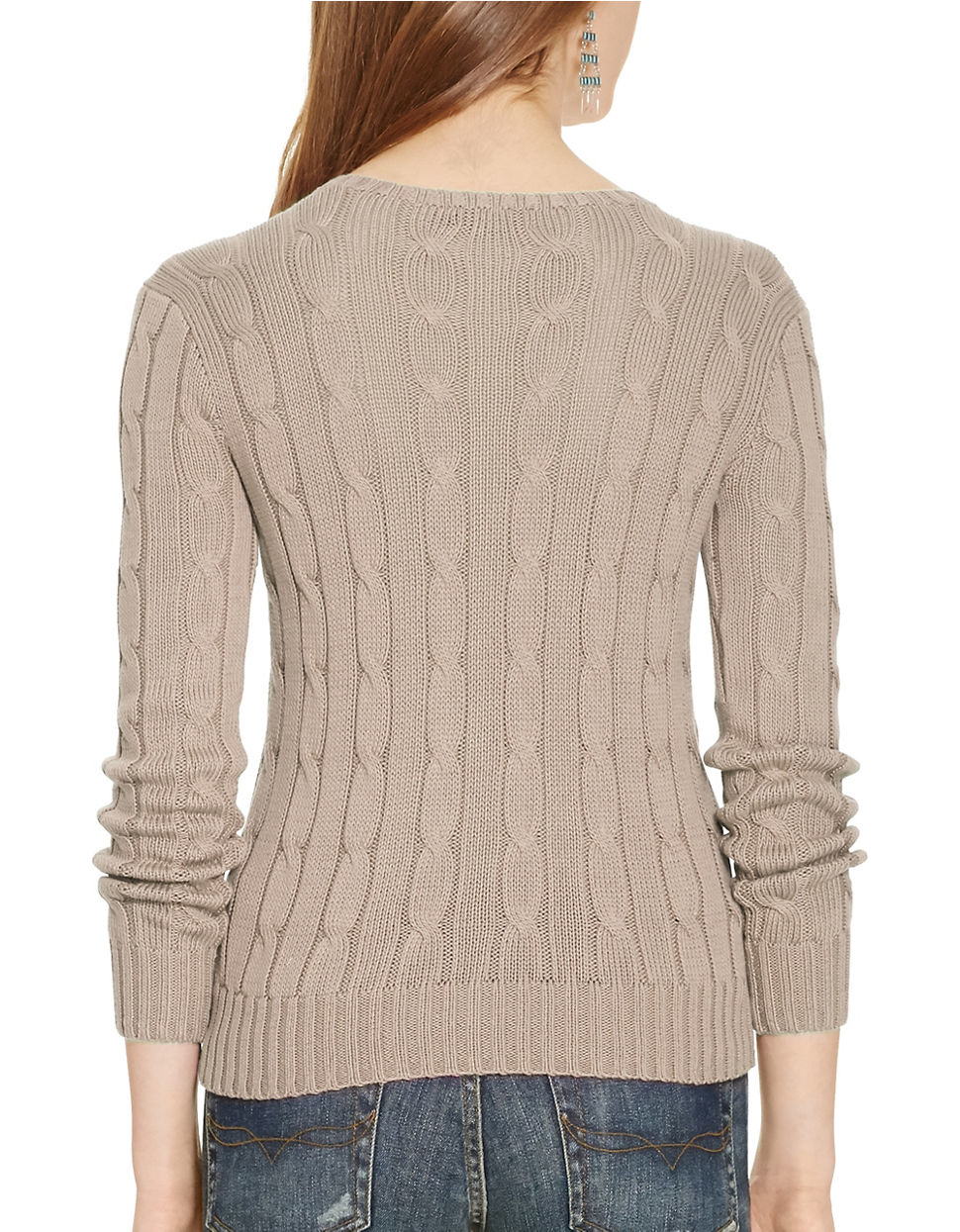 Polo Ralph Lauren Women S Natural Cotton Cable Knit Sweater