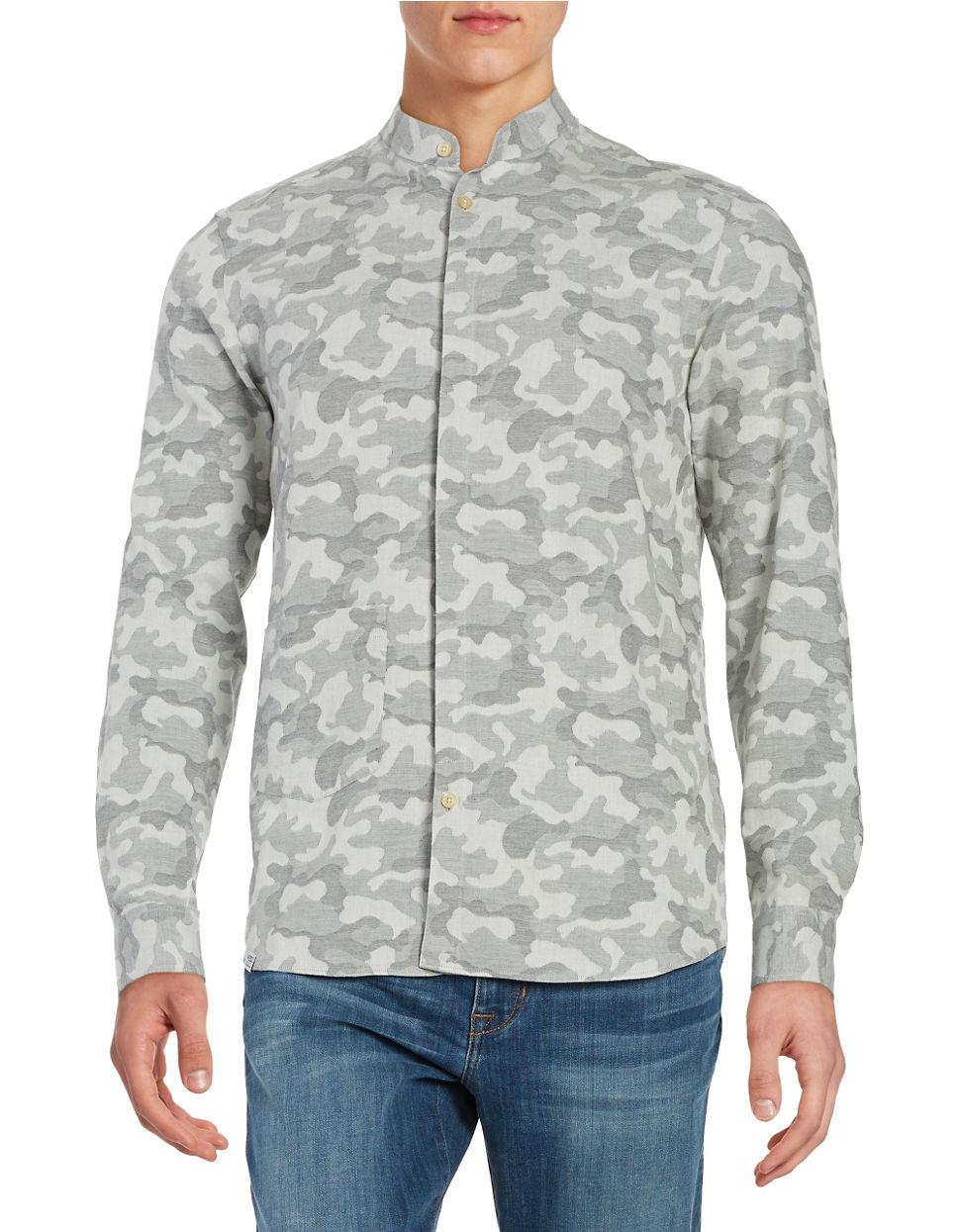 Wesc Spring Camo Casual Button Down Shirt In Gray For Men