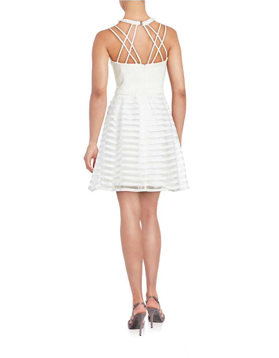 Guess Synthetic Striped Halter Fit And Flare Dress In