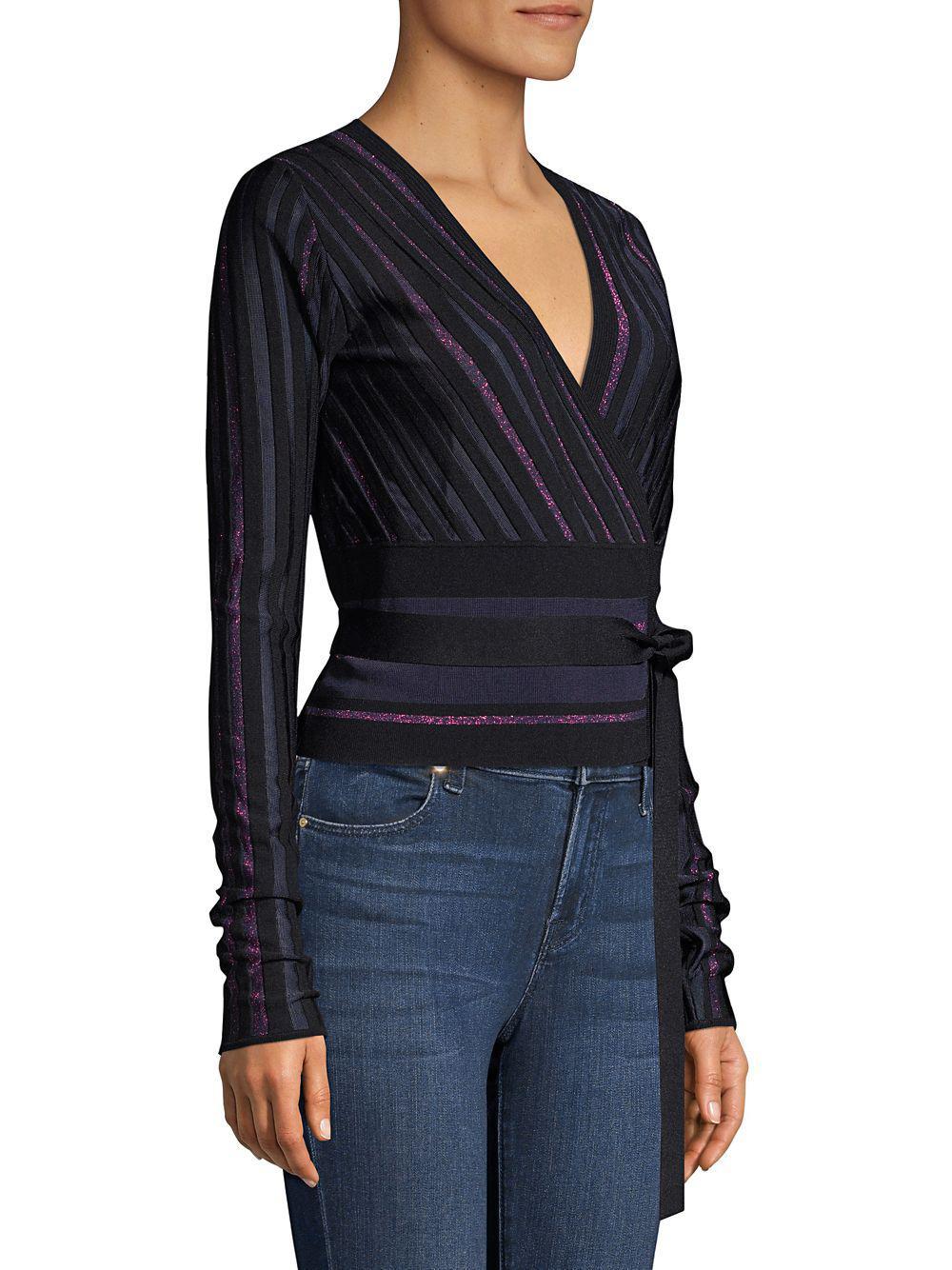 abe7a27b7d0b Diane von Furstenberg - Black Laren Wrap Sweater - Lyst. View fullscreen